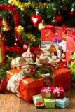Rectángulos de regalo de la Navidad Fotografía de archivo