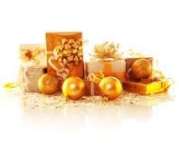 Rectángulos de regalo de oro Foto de archivo