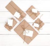 Rectángulos de regalo en blanco Fotografía de archivo
