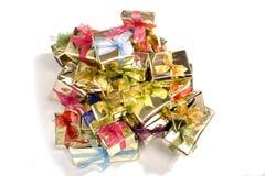 Rectángulos de regalo en blanco Imagen de archivo libre de regalías