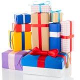 Rectángulos de regalo en el fondo blanco Foto de archivo