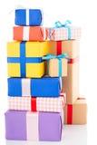 Rectángulos de regalo en el fondo blanco Imagenes de archivo