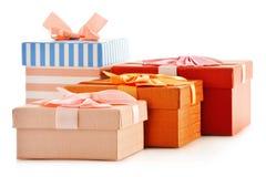 Rectángulos de regalo en el fondo blanco Foto de archivo libre de regalías