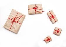 Rectángulos de regalo en el fondo blanco Fotos de archivo