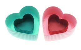 Rectángulos de regalo en forma de corazón Foto de archivo libre de regalías