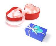 Rectángulos de regalo en forma de corazón Imágenes de archivo libres de regalías