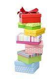 Rectángulos de regalo irregular empilados Imágenes de archivo libres de regalías