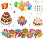 Rectángulos de regalo, tortas, baloons, velas Fotos de archivo libres de regalías