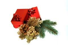 Rectángulos de regalo y decoración de la Navidad Fotografía de archivo libre de regalías