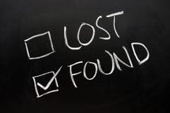 Rectángulos de verificación perdidos y encontrados Fotos de archivo libres de regalías