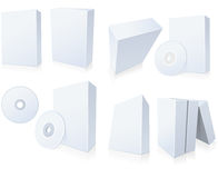 Rectángulos del software con CD Imagen de archivo libre de regalías