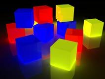 Rectángulos que brillan intensamente del RGB Foto de archivo libre de regalías