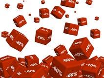 Rectángulos rojos con las mercancías en un descuento Imagen de archivo