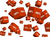 Rectángulos rojos con las mercancías en un descuento Fotografía de archivo libre de regalías