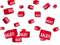 Rectángulos rojos con las mercancías en un descuento Foto de archivo libre de regalías