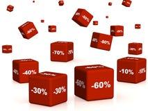 Rectángulos rojos con las mercancías en un descuento stock de ilustración