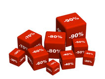 Rectángulos rojos con las mercancías en un discoun ilustración del vector