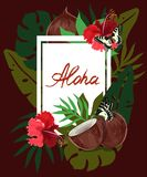 Rectangle aloha tropical leaves, hibiscus and coconut frame on dark background. Tropical flowers, leaves and plants background. stock illustration