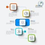 Rectangle arrondi de l'infographics quatre d'illustration de vecteur illustration de vecteur