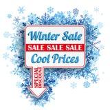 Rectangle Arrow Pointer Blue Snowflakes Winter Sale Royalty Free Stock Photos