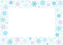 Rectangle backround with snowflakes Stock Photos