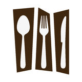 rectangle banner frame separated with silhouettes cutlery kitchen elements Stock Photo