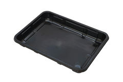 Rectangle black plastic food tray Stock Images