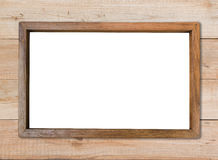 Rectangle blank wood frame on wood wall Stock Photos