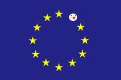 Rectangle bleu, qui est en cercle d'onze étoiles d'or Au lieu de l'étoile absente est le visage blanc stylisé mort Photographie stock libre de droits