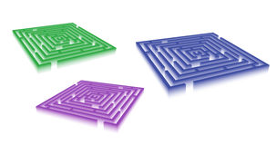Rectangle blue green violet maze set Stock Image
