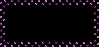 Rectangle border made of pink animal paw prints on black. Rectangle frame made of pink animal paw prints on black background. Vector illustration, template Stock Images