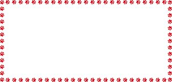 Rectangle border made of red animal paw prints on white. Rectangle frame made of red animal paw prints on white background. Vector illustration, template, border Royalty Free Stock Photos