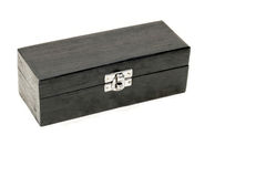 Rectangle box. Black rectangle wooden gift box blank closed Royalty Free Stock Image