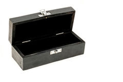 Rectangle box open. Black rectangle wooden gift box blank open Royalty Free Stock Photography