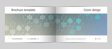 Rectangle brochure template layout, cover, annual report, magazine in A4 size with molecular background. Vector. Illustration Stock Photography