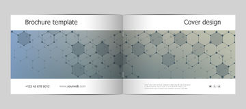 Rectangle brochure template layout, cover, annual report, magazine in A4 size with molecular background. Vector. Illustration Stock Image