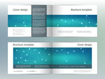 Rectangle brochure template layout, cover, annual report, magazine in A4 size with molecular background. Vector Stock Images