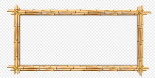Rectangle brown wooden frame realistic bamboo sticks with copy space. Rectangle brown wooden border frame made of realistic brown bamboo stems with empty copy royalty free illustration