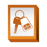 Rectangle button with keys and keychain Stock Photos