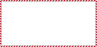 Rectangle candy cane frame with red and white striped lollipop pattern on white background. Christmas, new year rectangle cane frame with red and white striped stock illustration