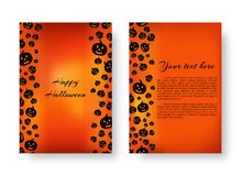 Rectangle card with pumpkins for halloween. Invitation template for a party with soaring black pumpkin silhouettes for festive halloween decoration Stock Photo