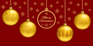 Rectangle Christmas card or horizontal banner. 3d golden balls on a classic red background. Flat greeting and stars on Royalty Free Stock Photo