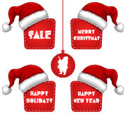 Rectangle Christmas New Year Sale Tag with Cap Royalty Free Stock Images