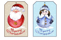 Rectangle christmas tags with smiling Santa Claus and funny Snow Maiden. Royalty Free Stock Images