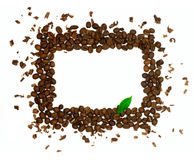 Rectangle coffee frame with green leaf isolated Royalty Free Stock Images