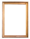 Rectangle decorative golden picture frame. Isolated on white background with clipping path Royalty Free Stock Image