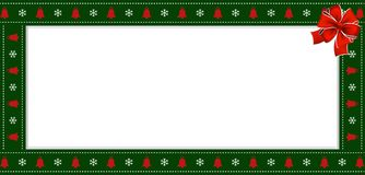 Rectangle festive border banner with red ribbon for new year. Cute Christmas or new year green border with xmas snowflakes and bells pattern ornament and red vector illustration
