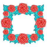 Rectangle floral retro frame with red roses with leaves Stock Photos