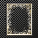 Rectangle frame with golden stars on the transparency background, sparkles golden symbols  - star glitter, stellar flare, shining Royalty Free Stock Photos
