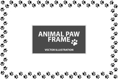 Rectangle Frame Made Of Animal Paws - Vector Illustration - Isolated On White Background royalty free illustration